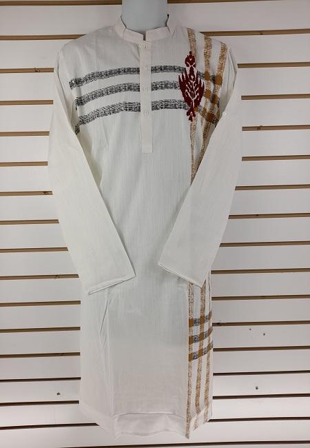 White Slim Fit Cotton Punjabi (She Boutique Punjabi 504)