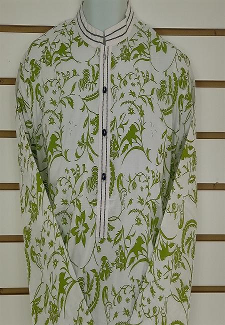 Off White Color Printed Regular Fit Cotton Punjabi (She Boutique Punjabi 507)