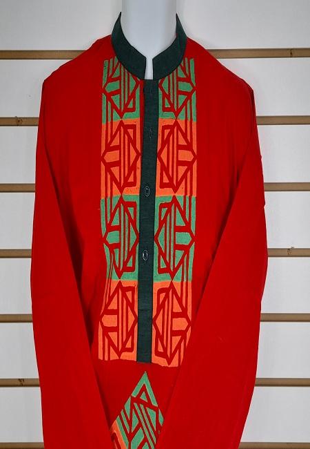 Red Color Printed Regular Fit Cotton Punjabi (She Boutique Punjabi 509)