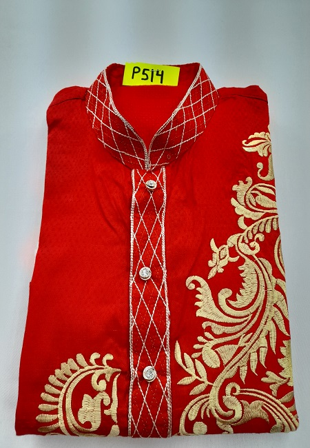 Red Color Embroidery Regular Fit Cotton Punjabi (She Boutique Punjabi 514)