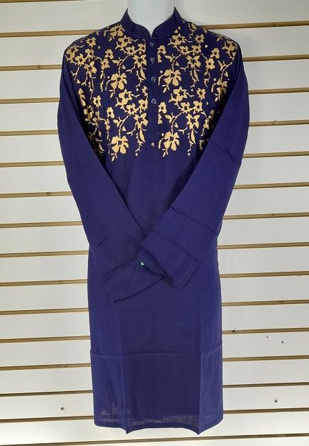 Navy Blue Color Printed Regular Fit Cotton Punjabi (She Boutique Punjabi 520)