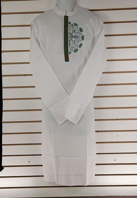 White Color Printed Regular Fit Cotton Punjabi (She Boutique Punjabi 521)
