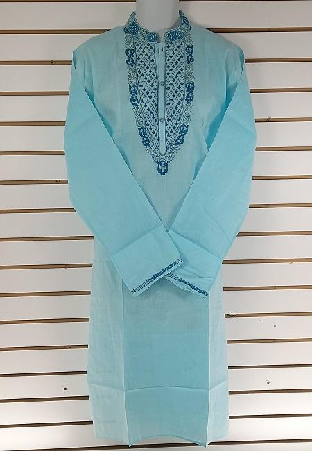 Sky Blue Embroidery Regular Fit Cotton Punjabi (She Boutique Punjabi 525)