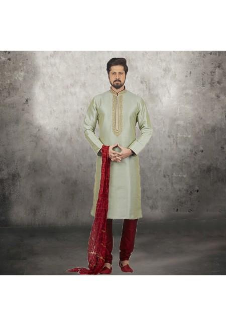 Pastel Green Color Banarasi Silk Punjabi Set (She SIlk Punjabi 539)
