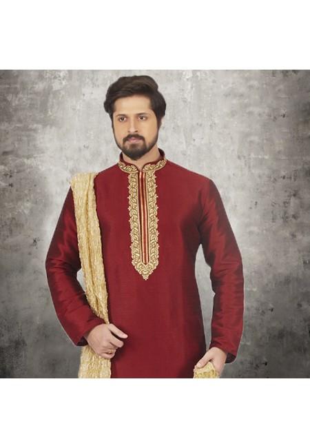 Maroon Color Banarasi Silk Punjabi Set (She SIlk Punjabi 538)