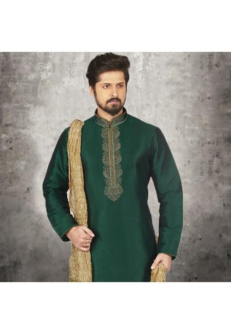Bottle Green Color Banarasi Silk Punjabi Set (She SIlk Punjabi 537)
