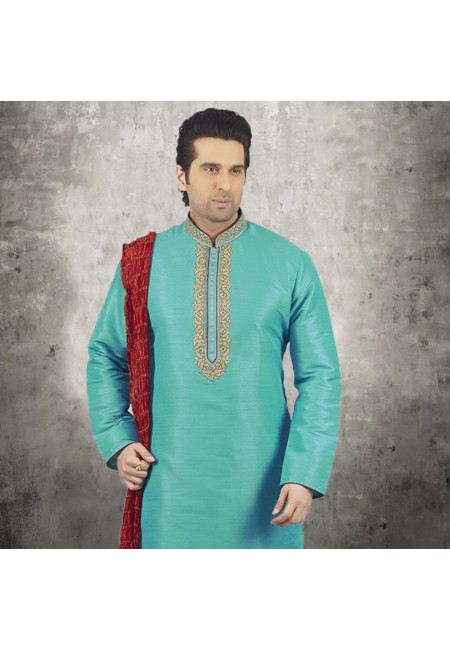 Sea Green Color Banarasi Silk Punjabi Set (She SIlk Punjabi 541)