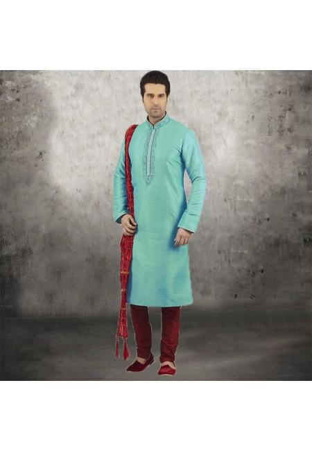 Sea Green Color Banarasi Silk Punjabi Set (She SIlk Punjabi 544)