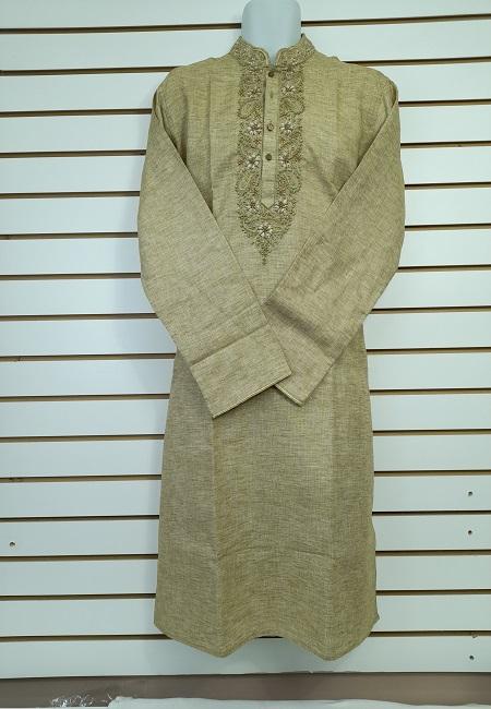 Olive Green Color Cotton Embroidery Punjabi (She Boutique Punjabi 534)