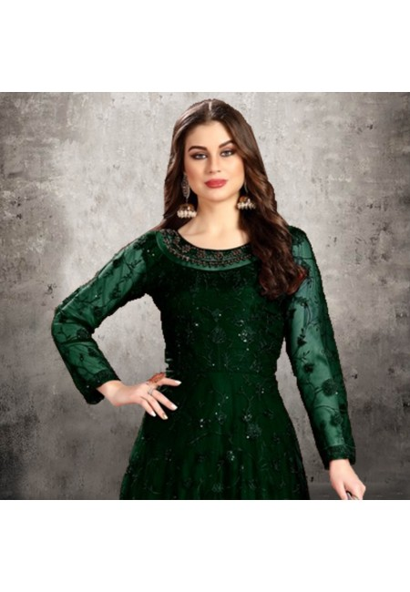 Bottle Green Color Designer Floor Touch Salwar Suit (She Salwar 541)