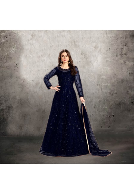 Navy Blue Color Designer Floor Touch Salwar Suit (She Salwar 543)
