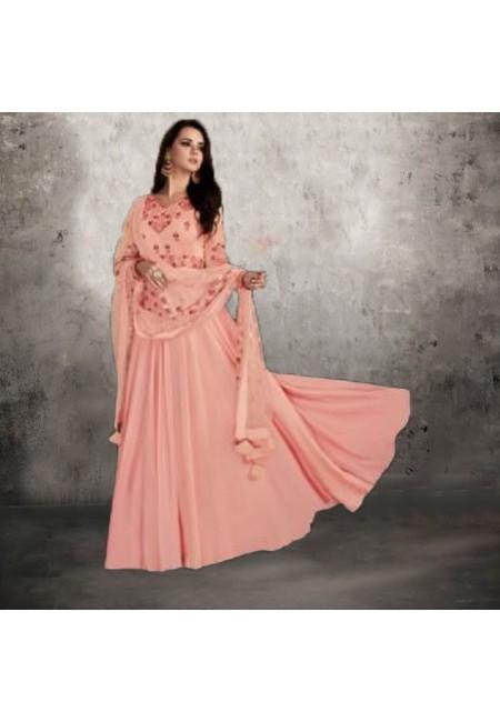 Light Peach Color Designer Floor Touch Salwar Suit (She Salwar 545)
