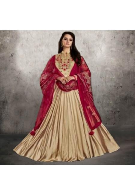 Beige Color Designer Floor Touch Salwar Suit (She Salwar 546)