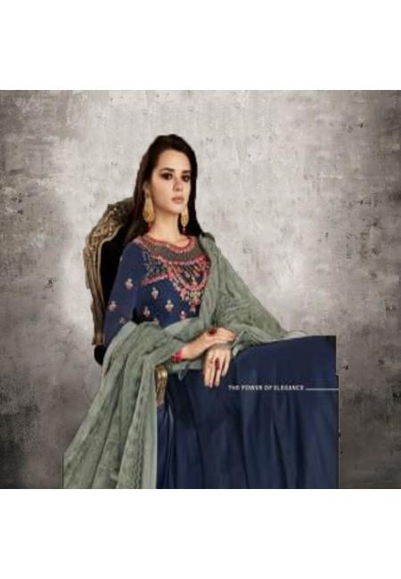 Navy Blue Color Designer Floor Touch Salwar Suit (She Salwar 549)