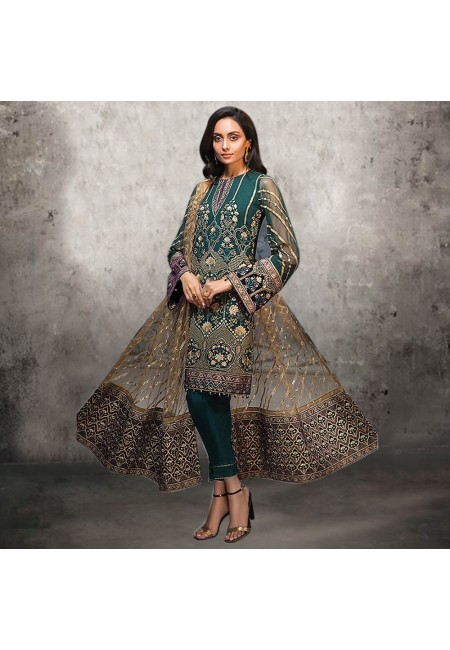 Bottle Green Color Embroidery Salwar Suit (She Salwar 536)