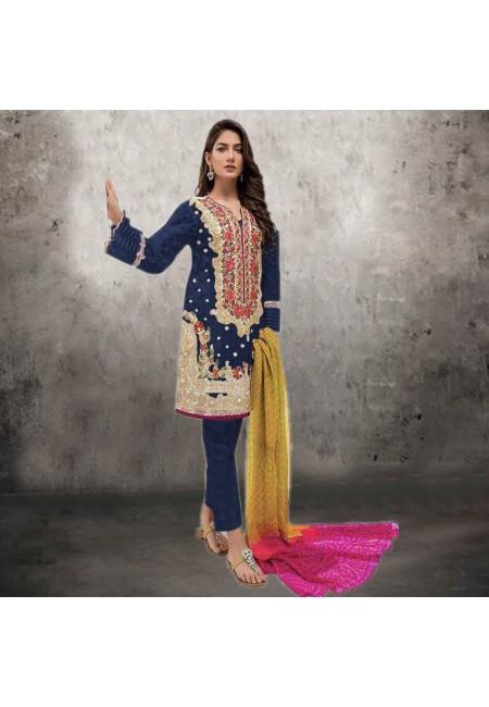 Navy Blue Color Embroidery Salwar Suit (She Salwar 534)
