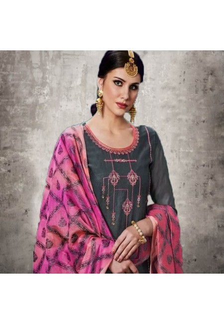 Deep Grey Color Designer Salwar Suit (She Salwar 553)