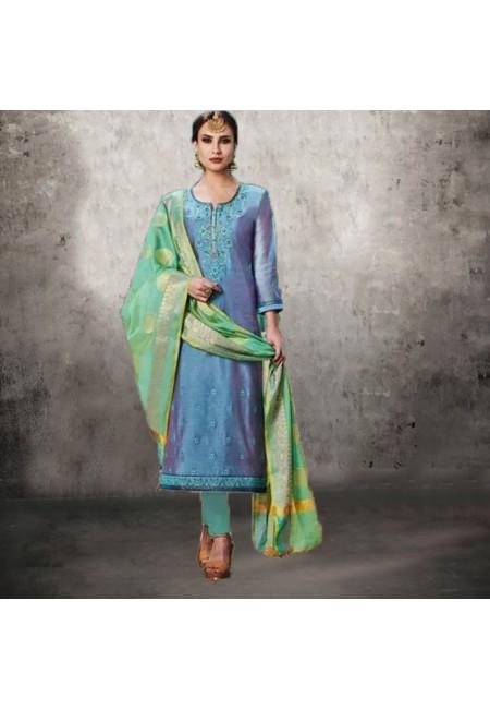 Turquoise Blue Color Designer Salwar Suit (She Salwar 555)