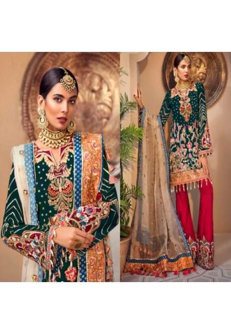Deep Bottle Green Color Designer Net Salwar Set (She Salwar 585)