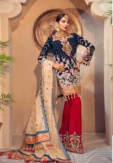 Deep Navy Blue Color Designer Net Salwar Set (She Salwar 586)