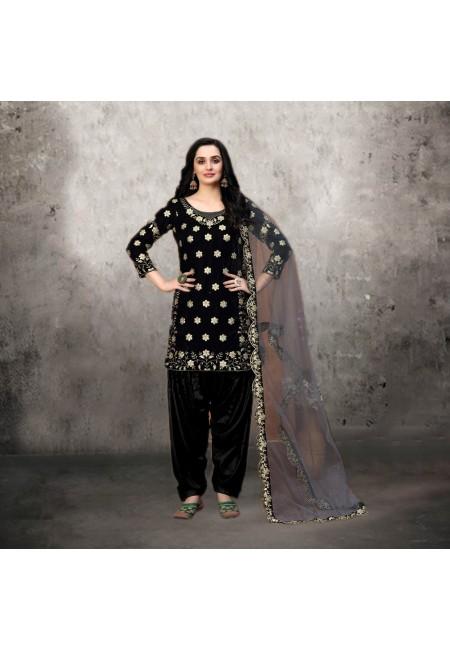 Black Color Designer Velvet Salwar Suit (She Salwar 528)