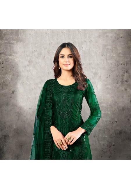Bottle Green Color Designer Net Salwar Suit (She Salwar 524)
