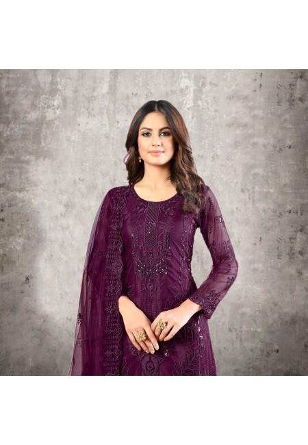 Wine Color Designer Net Salwar Suit (She Salwar 525)