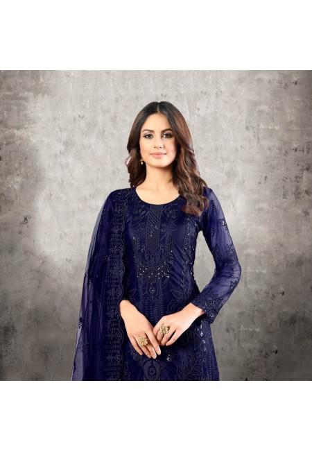 Navy Blue Color Designer Net Salwar Suit (She Salwar 526)