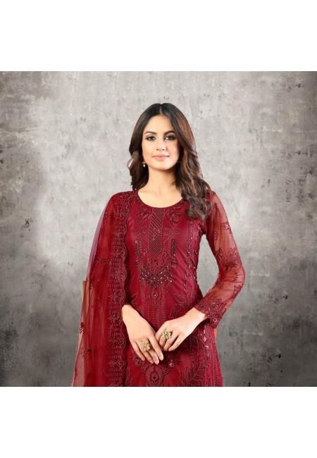 Maroon Color Designer Net Salwar Suit (She Salwar 527)