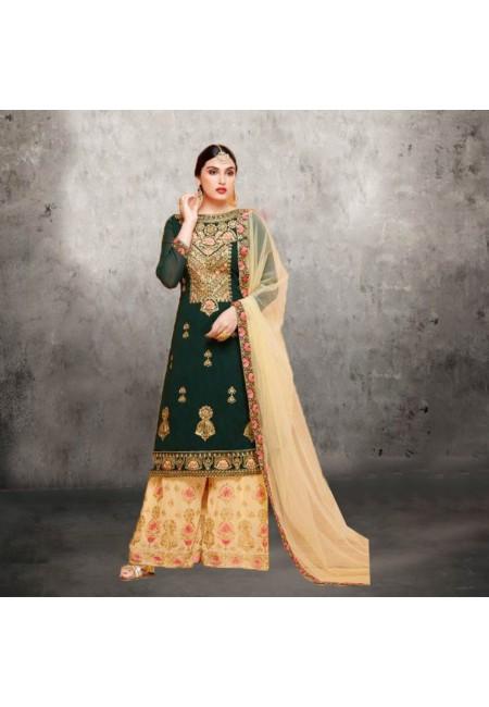 Deep Bottle Green Color Designer Sharara Salwar Suit (She Salwar 580)