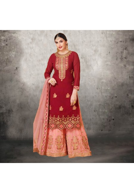 Maroon Color Designer Sharara Salwar Suit (She Salwar 581)
