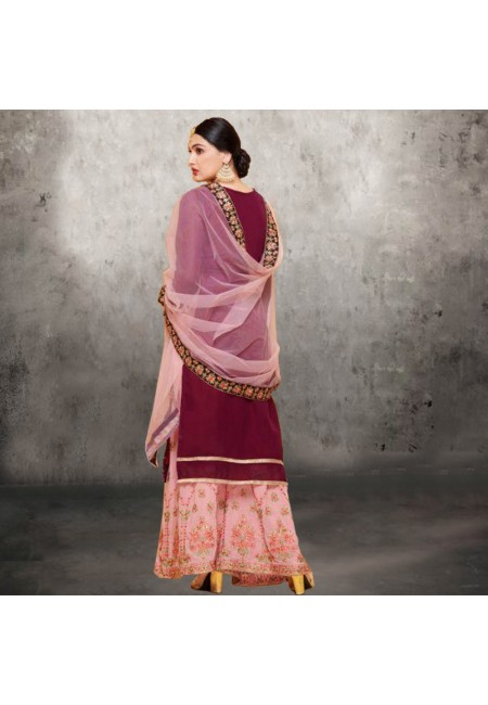 Deep Magenta Color Designer Sharara Salwar Suit (She Salwar 582)