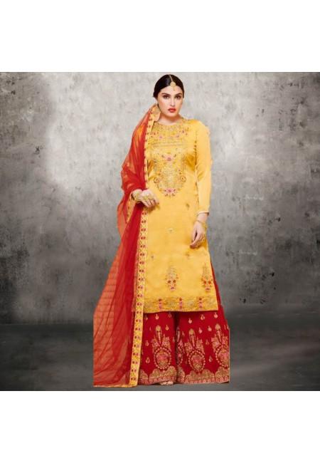 Golden Yellow Color Designer Sharara Salwar Suit (She Salwar 583)