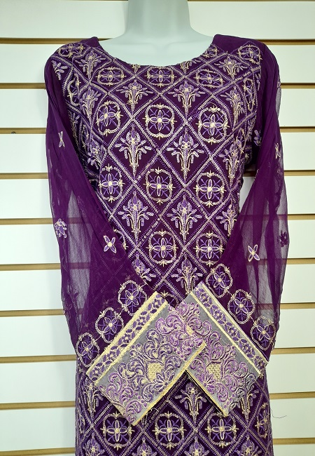 Deep Purple Color Pakistani Designer Salwar Suit Set (She Salwar 569)