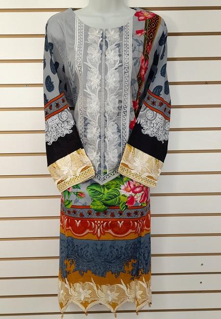 Light Grey Color Luxury Pakistani Lawn Suit (She Salwar 560)