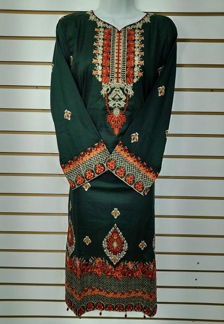 Bottle Green Color Luxury Pakistani Lawn Suit (She Salwar 561)