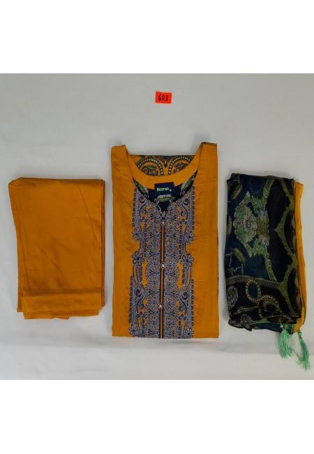 Mustard Color Luxury Pakistani Lawn Suit (She Salwar 562)
