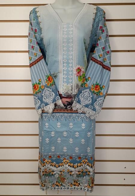 Sky Blue Color Luxury Pakistani Lawn Suit (She Salwar 564)