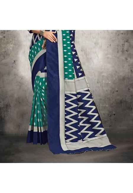 Green Color Ikkat Printed silk Saree (She Saree 600)