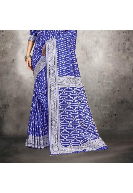 Blue Color Printed Silk Saree (She Saree 602)