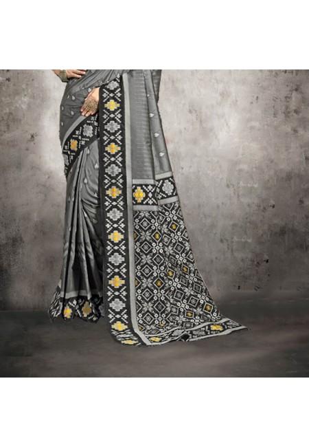 Grey Color Printed Silk Saree (She Saree 603)