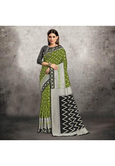 Green Color Printed Fancy Silk Saree (She Saree 613)