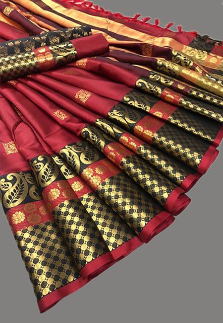 Maroon Color Fancy Silk Saree (She Saree 641)