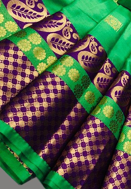 Green Color Fancy Silk Saree (She Saree 642)