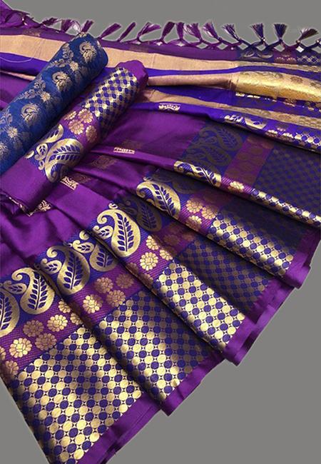 Purple Color Fancy Silk Saree (She Saree 647)