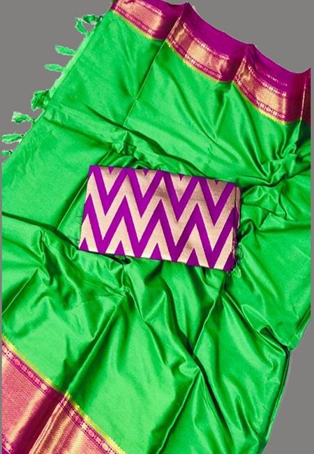 Parrot Green Color South Silk Saree (She Saree 648)
