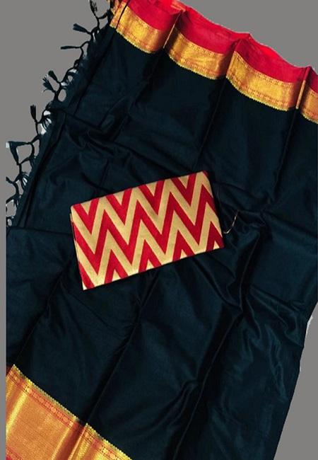 Black Color South Silk Saree (She Saree 651)