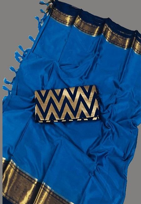 Peacock Blue Color South Silk Saree (She Saree 653)