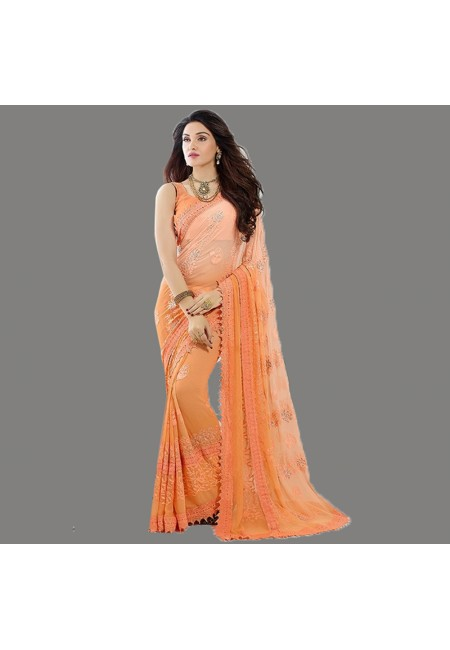 Peach Color Embroidery Chiffon Saree (She Saree 591)
