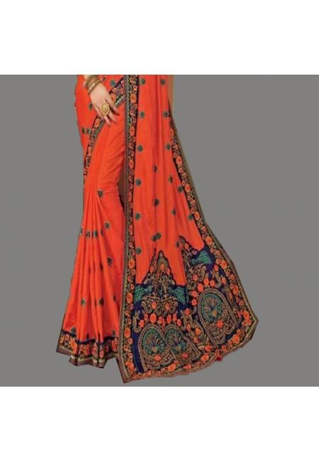 Orange Color Designer Silk Saree (She Saree 593)